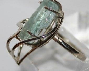 Aqumarine Crystal Ring, Blue Beryl Ring, 8 size ring,  FREE SHIPPING