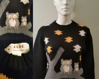 Vintage jade imported sportswear ltd. imported knit's old sweater kitsch animal print pair of hooters small Shetland wool pullover