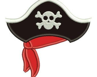 Pirate Hat Applique Embroidery Design - Instant Download