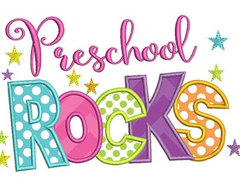 Preschool Rocks Back to School Embroidery Design - Instant Download