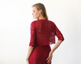 Long sleeves Bordeaux Lace short top , Bordeaux lace top 2041