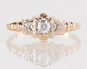 Antique 1930s 14K Yellow and White Gold Diamond Engagement Ring