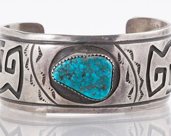 """Turquoise Cuff - Vintage Navajo """"W. Dodson"""" Sterling Silver and Turquoise Cuff Bracelet"""