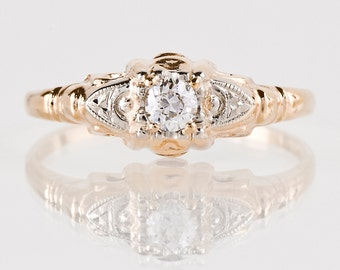 Antique Engagement Ring - Antique 1930s 14K Yellow and White Gold Diamond Engagement Ring