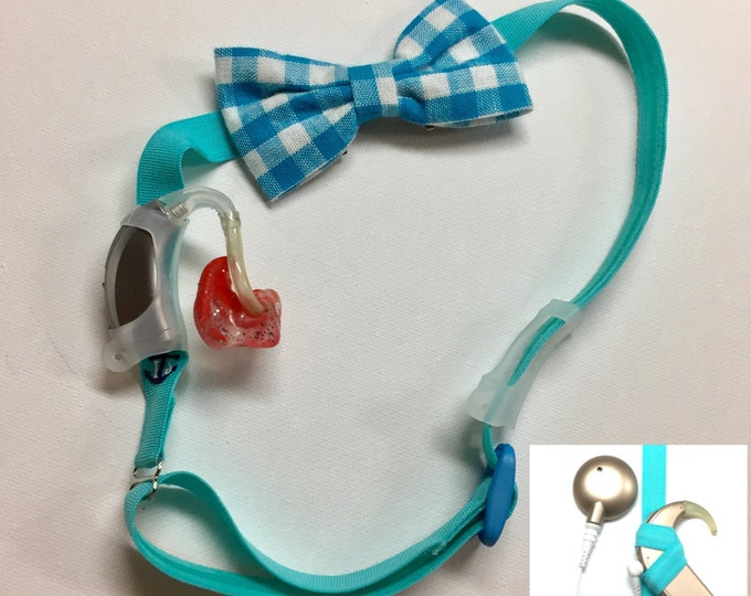 Hearing Aid or Cochlear Implant Heaband w/ Detachable Bow - Adjustable Length - Clear Silicone Sleeve - Non Slip Grip - for all ages