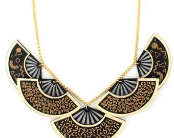 Fan statement necklace // Memphis statement  necklace // Leopard print statement  necklace