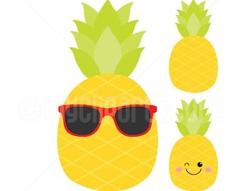 Clipart - Pineapple / Kawai / Sunglasses (Single Clipart Image) - Digital Clip Art (Instant Download)