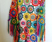 Colourful Crochet Shawl, Boho Gypsy Shawl, Hippie Patchwork Colorful Gypsy Shawl