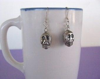 Sterling Silver Earrings, Skull Earrings