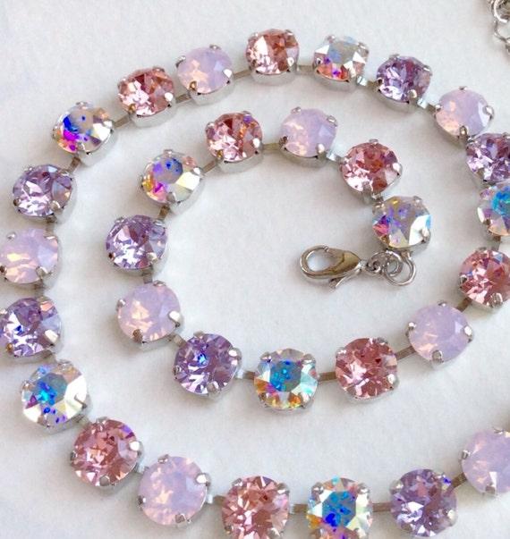 "Swarovski Crystal 8.5mm Necklace  ""Ballet Slipper"" Soft & Feminine Pinks, Violets, Aurora Borealis - Designer Inspired - FREE SHIPPING"