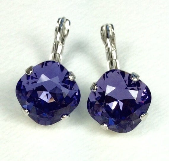Swarovski Crystal 12MM Cushion Cut, Lever- Back Drop Earrings - Designer Inspired - Tanzanite - On SALE - FREE SHIPPING