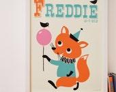 Personalised 'Funny Fox' Name Print, Letter F print, Fun New Baby Gift, Cute Fox print, Retro Fox print, Vintage Fox Print, Cute Fox Art