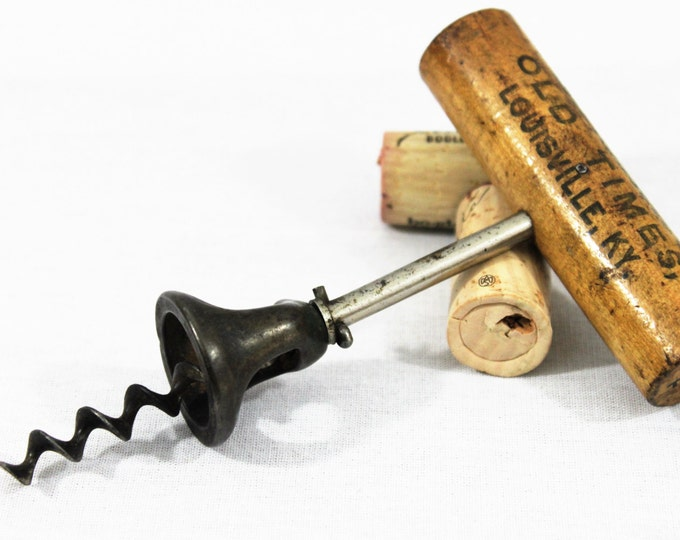 Antique Early 1890s  Old Times Whisky  Advertising Corkscrew, Louisville KY