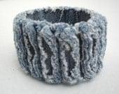 Upcycled Chenille Denim Cuff Bracelet