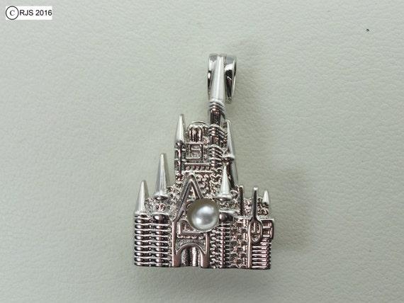 Castle Pick Pearl 925 Sterling Silver Cage Silver Necklace Princess Queen Kingdom Cinderella Charm Pendant