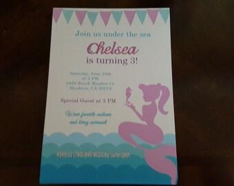 Mermaid invitations | Mermaid birthday invites | Under the sea birthday invites