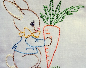 Bunny with Carrot, baby, kids,  Machine Embroidery Design 4x4 hoop, vintage colorwork linework, quick stitch, baby, INSTANT DOWNLOAD