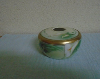 Antique Hair Receiver / Hand Painted  / Lillys / Made in Germany With a Prussian mark /Porcelain