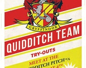 Small Gryffindor Quidditch Tryouts Poster