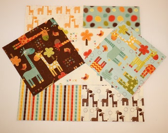 "BUILD A QUiLT  - RiLEY BLAKE  ""GiRAFFE CROSSING"" FABRiC 48 - 6"" Sqs Squares  Brand New Fabric"
