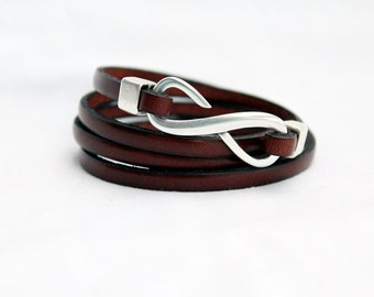 Infinity Wrap Leather Bracelet for men, for women, 4x Wrap, Womens Bracelet, Genuine Leather