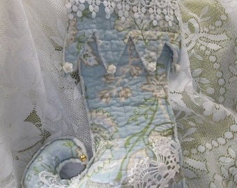 Lovely Rag Cut Quilted Shabby chic Christmas Stocking, curly toe, hand made