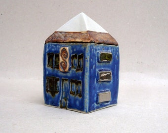 Miniature House , Blue White And Silver House, Ceramic Sculpture