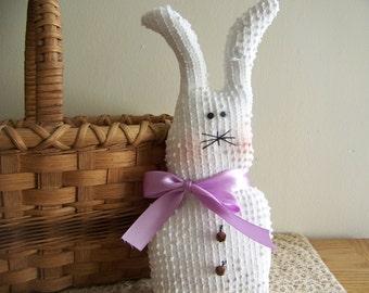 Primitive Vintage Chenille Easter Bunny Doll/Shelf Sitter
