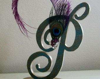 Cake Topper, Monogram Cake Topper, Gatsby Wedding Topper, Feather Topper Wedding, Purple Feather Topper, Anniversary Topper, P Cake Topper