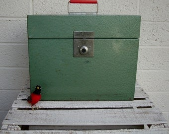 Vintage GREEN Metal FILE BOX with Red Handle- Industrial Style Retro Storage