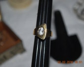 Mod Era Gold Plated Cubic Zirconia Ring Classic 80's Size 5