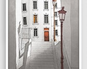 20% OFF SALE: Paris illustration - Morning shine (grey version) - Illustration Giclee Fine Art Print Paris Prints Posters Home Decor Archite