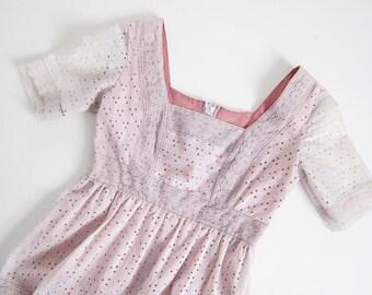 70s Dress / Lavender Dress / Lace Sundress / Pastel Dress / Kawaii Clothing / Gothic Lolita Dress / Vintage Lace Dress