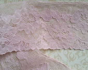 Beautiful Antique Peony Pink Flowery Chantilly Lace Trim | 2 7/8"