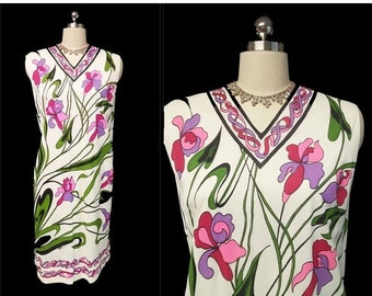 End of Summer Sale Vintage Serbin of Florida Designed by Muriel Ryan Screen Print Iris Dress designer dress screen print dress 60s dress flo