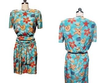 End of Summer Sale Vintage Nipon Seashell Silk Dress designer dress aqua dress seashell dress nipon dress nipon boutique dress 80s dress sum