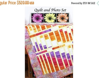 ON SALE Daisy Photo on Metal and Throw Quilt, Home Decor Set