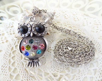 Owl Necklace, Black Owl Necklace, Multicolor Crystal Owl Pendants, Best Friend Birthday Gifts, Flower Girl Jewelry, Mother's Day Gifts