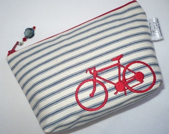 Small ticking cosmetic bag, pouch, toiletry, make up, red bike embroidered cosmetic bag