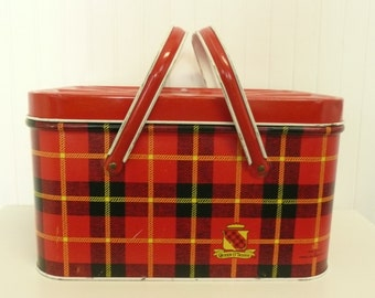 Vintage Tin Metal Picnic Basket, Cheinco Queen O' Scots Red Plaid Lithograph with Metal Swing Handles - Vintage Travel Trailer Decor