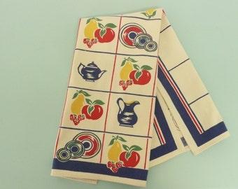 NICE 1950s Cotton Dish Tea Towel, Teapot, Pitcher, Fruit, Strawberries, Plaid Textiles - Home and Travel Trailer Decor