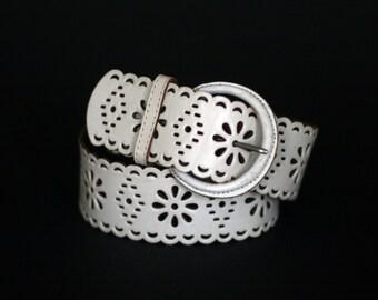 vintage via spiga white leather belt womens size S