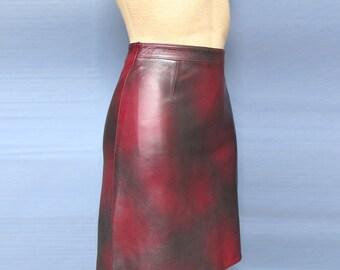 Burgundy Mini Leather Skirt 100% Genuine bordo leather New
