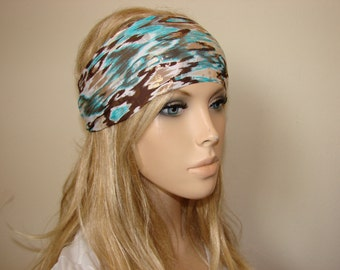 yoga headband, brown turqoise gold fitness headband, running headband, workout headband, woman fashion boho hair band