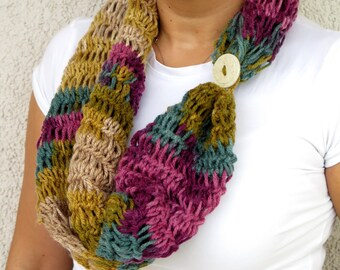 chunky scarves, comfortable and stylish, infinity scarf, multicolor scarf, circle scarf, colorful scarf,buttons scarf, scarves,