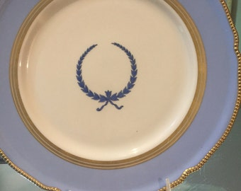 Vintage Plate/Castleton Display Plate/Empire Old Pattern/Circa 1950/Blue Wreath Center/Gold Trim/Pearl Edge/Cabinet Display/Wedding Gift