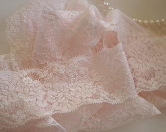 light blush pink stretch lace trim 2 yards