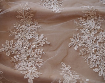 bead lace fabric, bridal lace fabric, ivory bead lace fabric for wedding dress