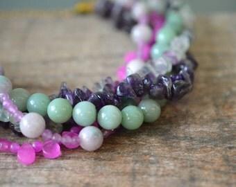 Chunky multi gemstone choker necklace Multistrand necklace Purple green semi precious stone bead torsade Gemstone nugget summer fashion