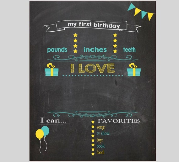 Blank first birthday chalkboard diy 1st birthday board digital for First birthday board template